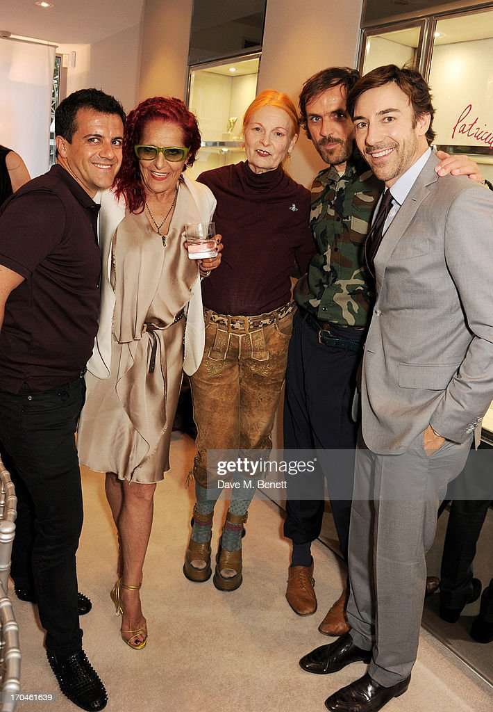 Amedeo Scognamiglio, Patricia Field, Dame Vivienne Westwood, <a gi-track='captionPersonalityLinkClicked' href=/galleries/search?phrase=Andreas+Kronthaler+-+Modedesigner&family=editorial&specificpeople=15476285 ng-click='$event.stopPropagation()'>Andreas Kronthaler</a>, and Roberto Faraone Mennella attend the 12th birthday of New York jewellery house Fararone Mennella, with guest of honour Patricia Field, at their Knightsbridge store on June 13, 2013 in London, England.