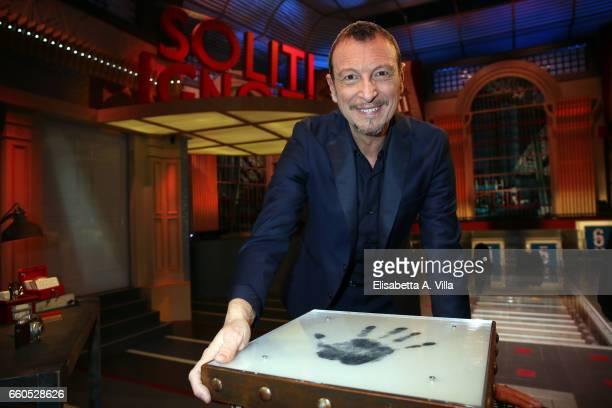 Amedeo Umberto Sebastiani aka Amadeus attends a photocall for 'I Soliti Ignoti' Rai Tv Show on March 30 2017 in Rome Italy