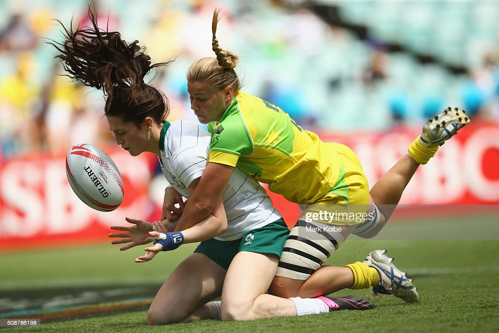 Amee Leigh Murphy Crowe of Ireland loses the ball as she is tackled over the try line by Nicole Beck of Australia during the 2016 Sydney Sevens internationa friendly womens match between Australia and Ireland at Allianz Stadium on February 7, 2016 in Sydney, Australia.