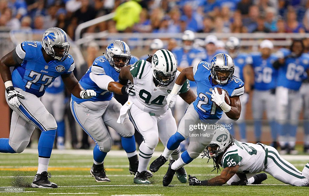 <a gi-track='captionPersonalityLinkClicked' href=/galleries/search?phrase=Ameer+Abdullah&family=editorial&specificpeople=8199967 ng-click='$event.stopPropagation()'>Ameer Abdullah</a> #21 of the Detroit Lions runs for a short gain during the first quarter of the preseason game against the New York Jets on August 13, 2015 at Ford Field Detroit, Michigan. The Lions defeated the Jets 23-3.