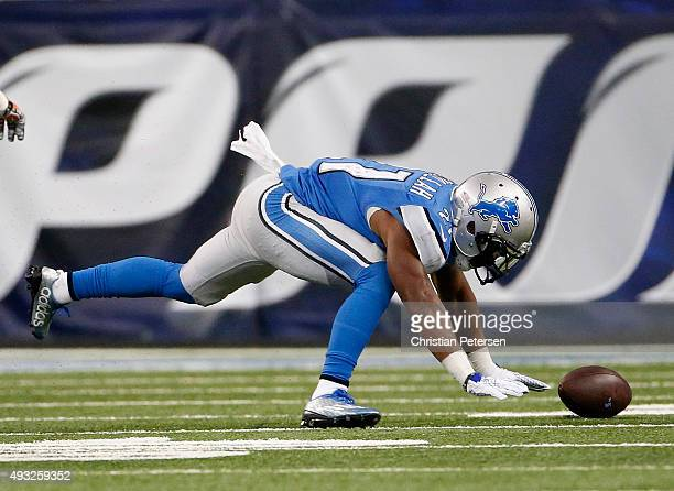 Ameer Abdullah of the Detroit Lions tries to recover his fumble while playing the Chicago Bears at Ford Field on October 18 2015 in Detroit Michigan