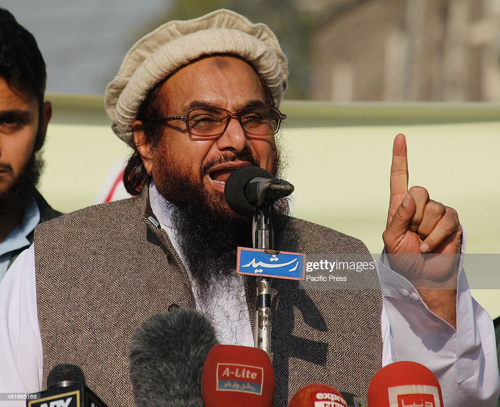 Ameer Jamaat-ud-Dawa <a gi-track='captionPersonalityLinkClicked' href=/galleries/search?phrase=Hafiz+Muhammad+Saeed&family=editorial&specificpeople=5517481 ng-click='$event.stopPropagation()'>Hafiz Muhammad Saeed</a> addressing the demonstrators during a protest against condemning the blasphemous caricatures of Prophet Mohammad published by French satirical magazine, Charlie Hebdo, which turned to some clashes between policemen and the protesters.