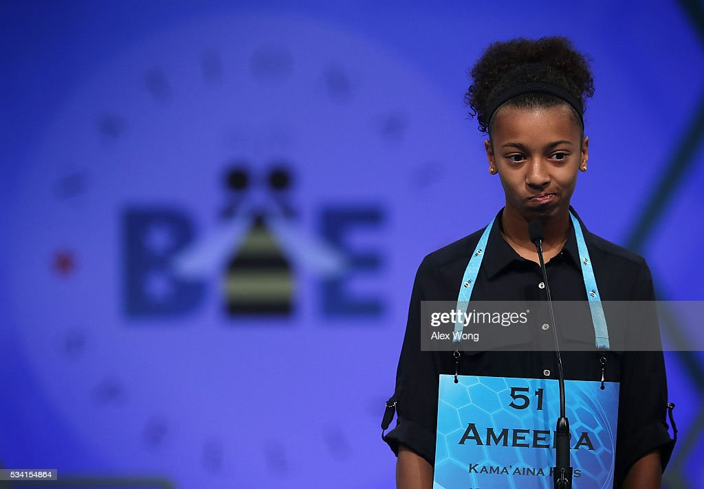 Ameera Waterford of Makawao, Hawaii, participates in round two of the 2016 Scripps National Spelling Bee May 25, 2016 in National Harbor, Maryland. Students from across the country gathered to compete for top honor of the annual spelling championship.