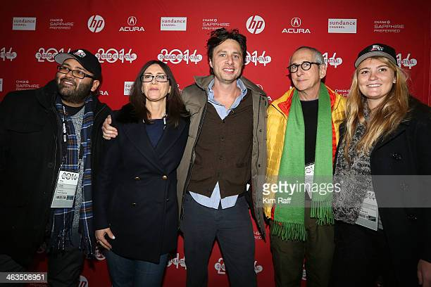 Ameet Shukla Stacey Sher Zach Braff Michael Shamberg and Coco Francini attend the premiere of 'Wish I Was Here' at The Marc Theatre during the 2014...