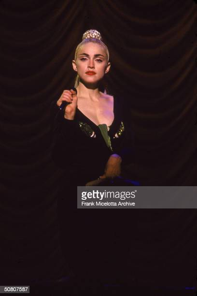 Ameican pop singer Madonna performs on stage in Kobe Japan April 1990