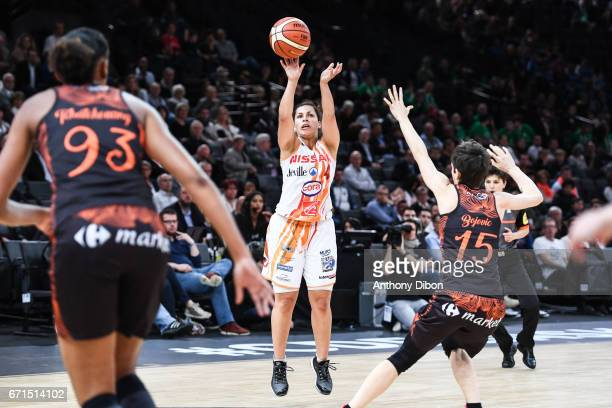 Amel Bouderra of Bourges during the women's Final of the French Cup between Charleville Mezieres and Bourges Basket at AccorHotels Arena on April 22...