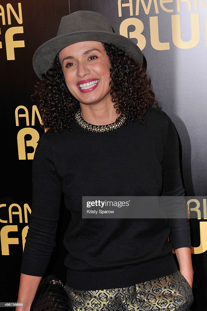 Amel Chahbi attends the 'American Bluff' Paris Premiere at Cinema UGC Normandie on February 3, 2014 in Paris, France.