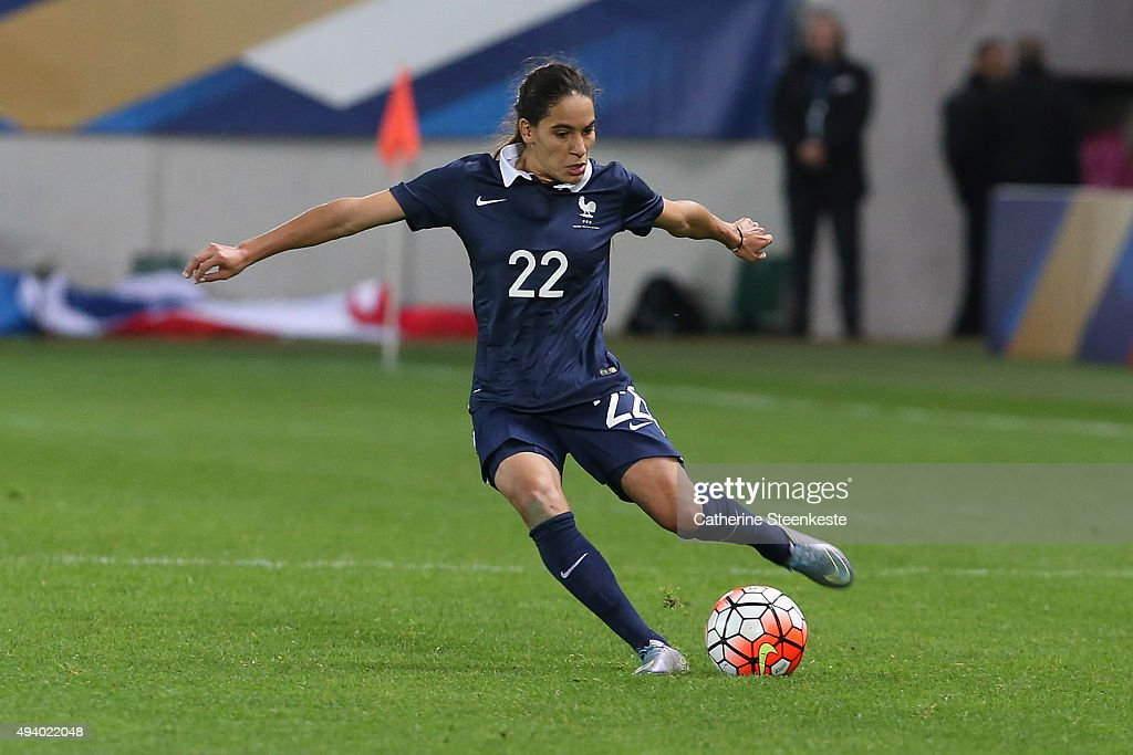Amel Majri #22 of France controls the ball during the international friendly game between France and Netherlands at Stade Jean Bouin on October 23, 2015 in Paris, France.