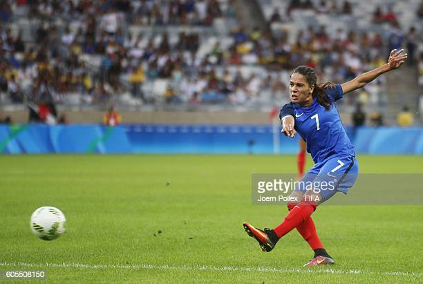 Amel Majri of France controls the ball during the Women's Group G match between USA and France on Day 1 of the Rio2016 Olympic Games at Mineirao...