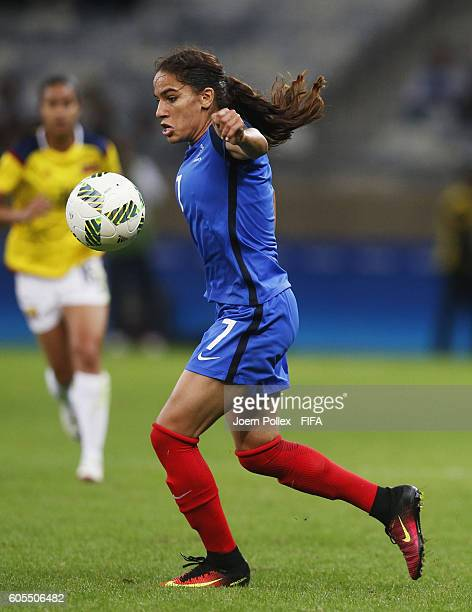 Amel Majri of France controls the ball during Women's Group G match between France and Colombia on Day 2 of the Rio2016 Olympic Games at Mineirao...
