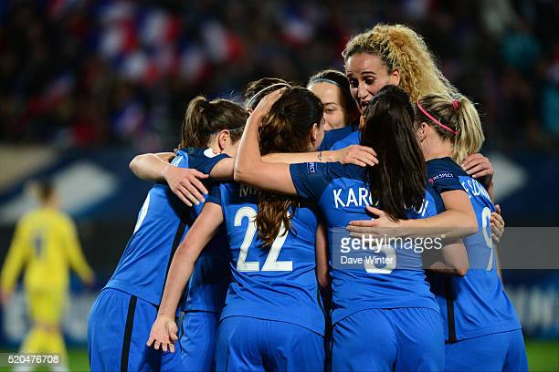 Amel Majri of France crosses and Iryna Vasylyuk of Ukraine scores an own goal to make the score 30 to France during the UEFA Women's Euro 2017...
