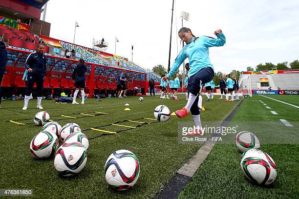 Amel Majri of France in acton during a training session ahead of France's opening match at the Moncton Stadium on June 8 2015 in Moncton Canada