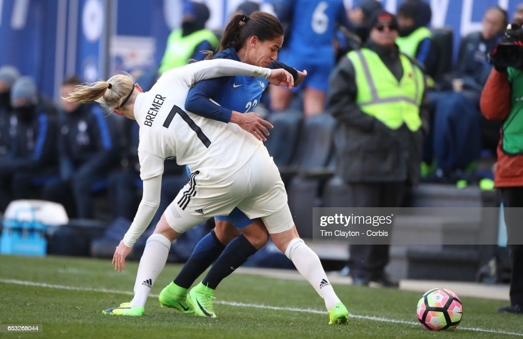 Amel Majri #22 of France is challenged by Pauline Bremer #7 of France during the France Vs Germany SheBelieves Cup International match at Red Bull Arena on March 4, 2017 in Harrison, New Jersey.