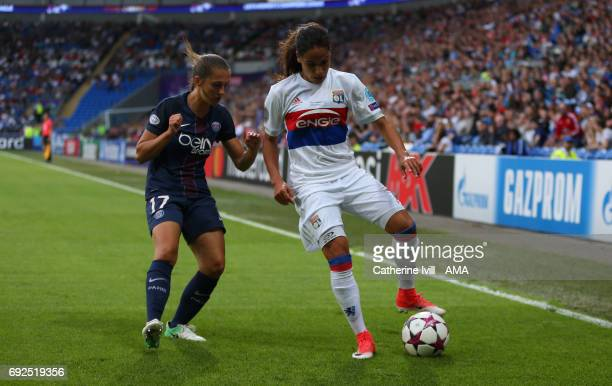 Amel Majri of Olympique Lyonnais and Eve Perisset of PSG during the UEFA Women's Champions League Final match between Lyon and Paris Saint Germain at...