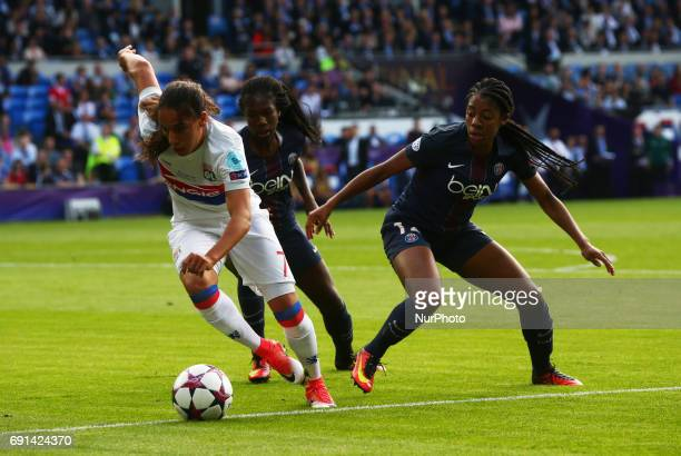 Amel Majri of Olympique Lyonnais Feminies beats Ashley Lawrence of Paris SaintGermain Feminies during the UEFA Women's Champions League Final match...