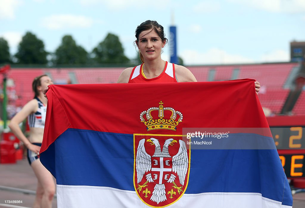 Amela Terzic of Serbia celebrates winning the 1500m during day four of The European Athletics U23 Championships 2013 on July 14 2013 in Tampere...