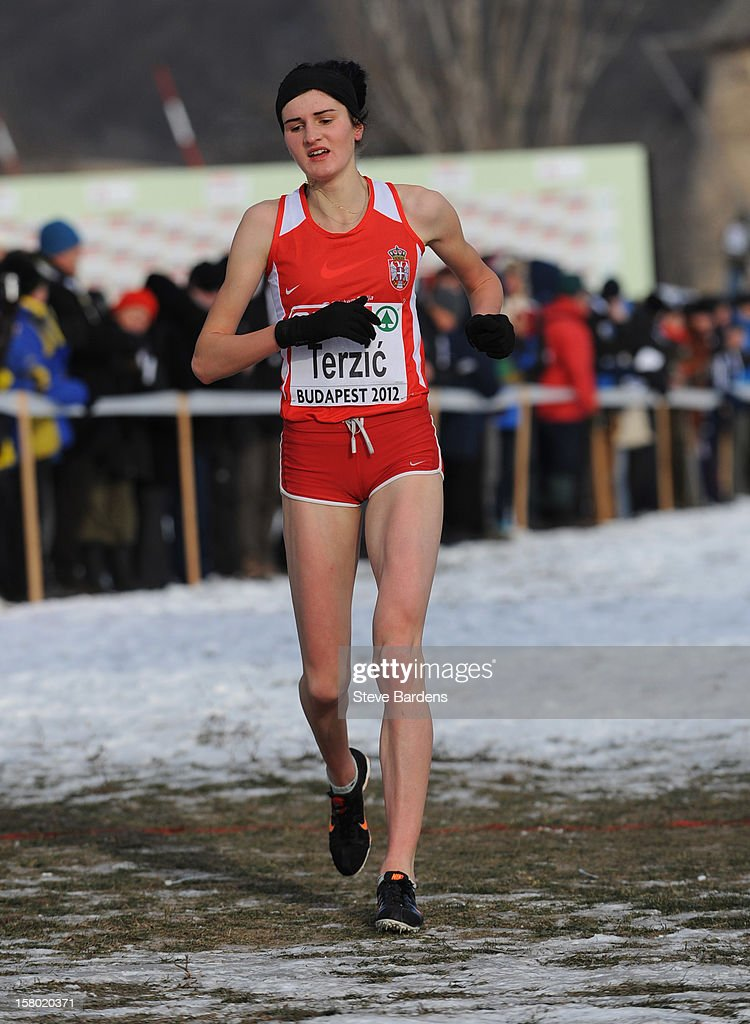 Amela Terzic of Serbia crosses the finish line to win the Junior Women's race during the 19th SPAR European Cross Country Championships on December 9, 2012 in Budapest, Hungary.