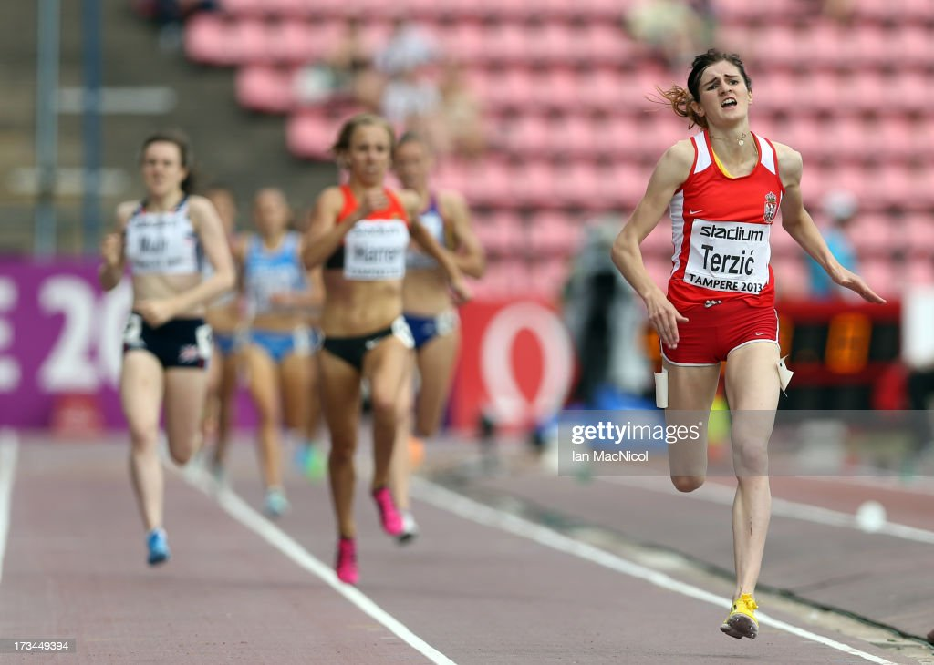 Amela Terzic of Serbia wins the Women's 1500m Final during day four of The European Athletics U23 Championships 2013 on July 14 2013 in Tampere...