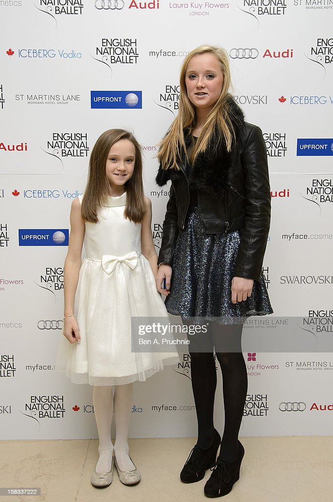 Amelia Allen and Isabelle Allen attends the English National Ballets Christmas Party at St Martins Lane Hotel on December 13, 2012 in London, England.
