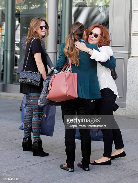Amelia Bono and her mother Ana Rodriguez are seen on October 1 2013 in Madrid Spain