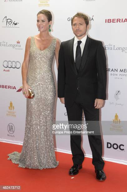 Amelia Bono and Manuel Martos attend the Global Gift Gala 2014 red carpet to help raise money for The Eva Longoria Foundation on July 20 2014 in...