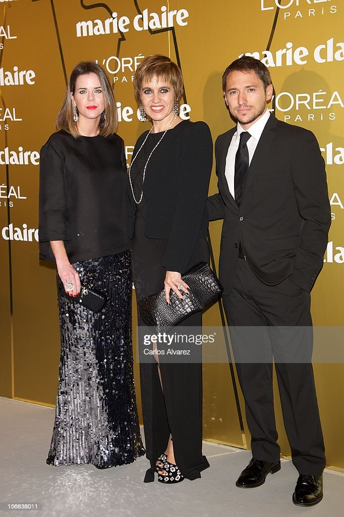 Amelia Bono, Rosa Tous and Manuel Martos attend Marie Claire Prix de la Moda Awards 2012 at the French Embassy on November 22, 2012 in Madrid, Spain.