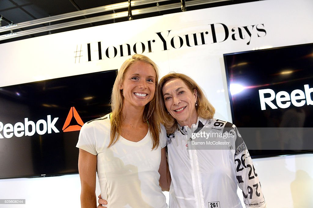 Amelia Boone and Kathrine Switzer attend REEBOK #HonorYourDays Luncheon attend REEBOK Headquarters on April 28, 2016 in Canton, Massachusetts.