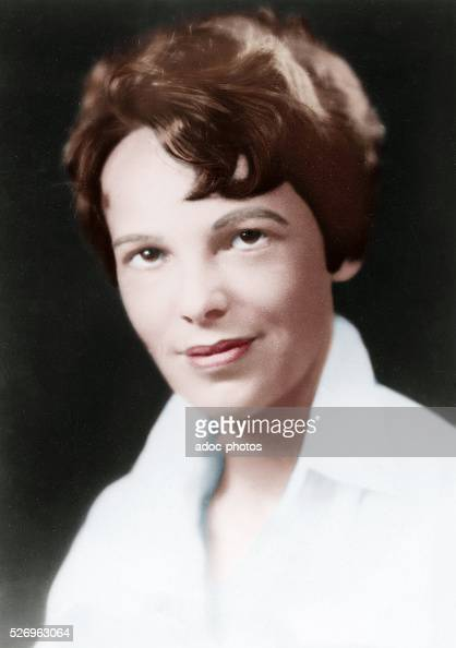 Amelia Earhart American aviation pioneer born in Atchison Ca 1930 Coloured photograph