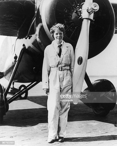 Amelia Earhart in front of her Lockheed plane Electra circa 1933
