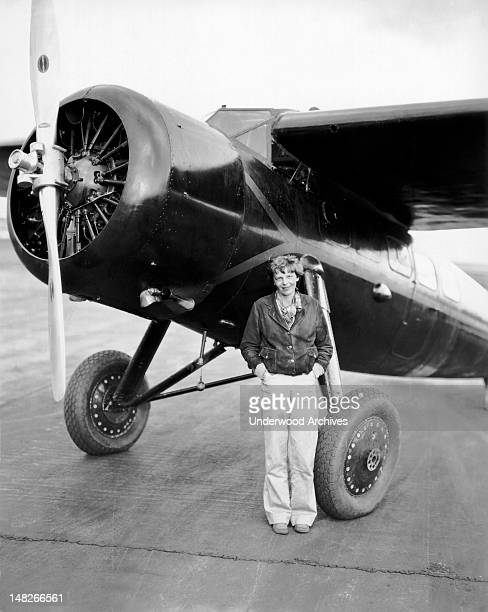 Amelia Earhart just before she became the first person to fly solo from Honolulu to Oakland Wheeler Field Hawaii January 4 1935
