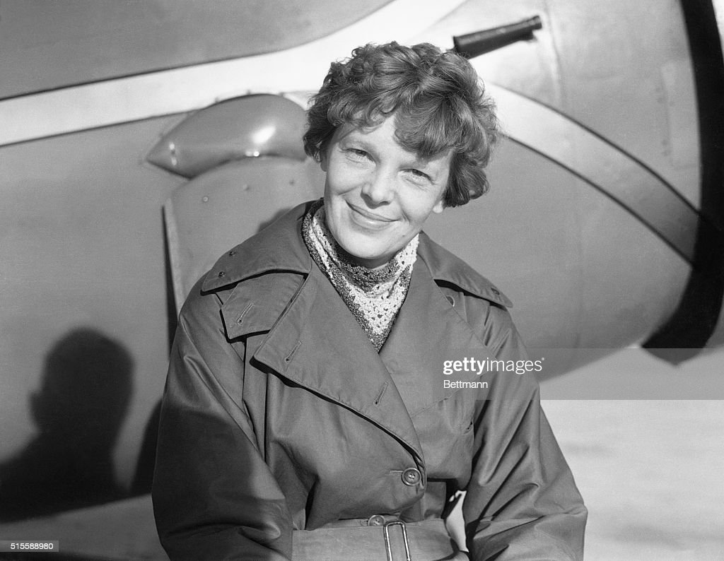 Amelia Earhart Putnam, first lady of the air, plans to fly solo from Hawaii to the United States, according to an announcement recently made. The date of the projected hop has not been set definitely. Photo shows Amelia Earhart in the Lockheed Wasp-powered Vega plane, which will be shipped to Hawaii on the S.S. Lurline from which it is expected Miss Earhart will attempt the long distance flight.