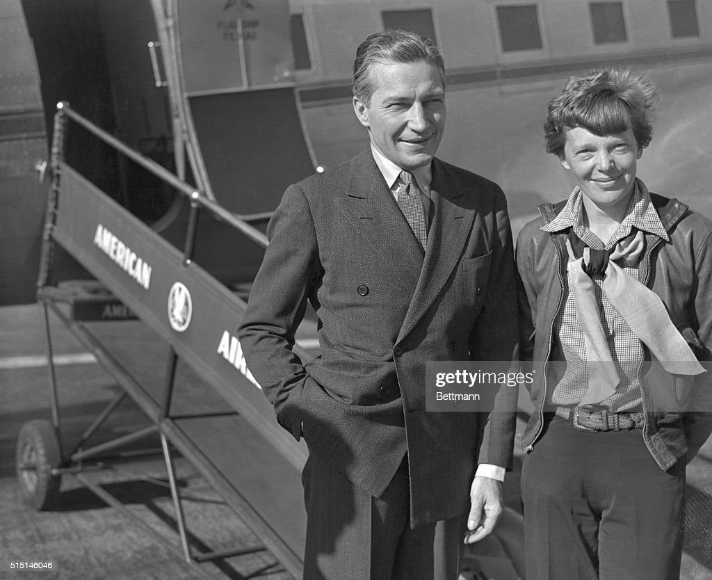 Amelia Earhart (Putnam), the 'First Lady of the Air' and Eugene Vidal, who until recently, was head of the bureau of Air Commerce of the Department of Commerce, were fellow travelers on the American Airlines plane which arrived in Los Angeles on March 3, 1937. Amelia Earhart Putnam is making plans for a world flight.
