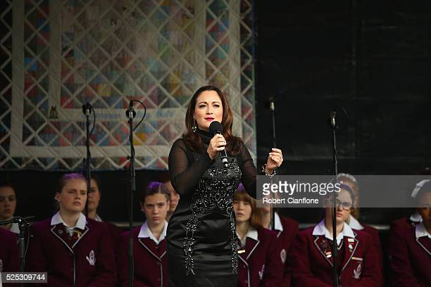Amelia Farrugia sings Ave Maria during the 20th anniversary commemoration service of the Port Arthur massacre on April 28 2016 in Port Arthur...
