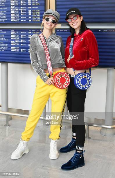 Amelia Gray Hamlin and Delilah Belle Hamlin are seen upon arrival at Narita International Airport on July 25 2017 in Narita Japan