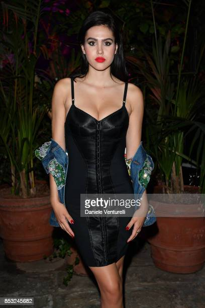 Amelia Gray Hamlin attends Dolce Gabbana Queen Of Hearts Party show during Milan Fashion Week Spring/Summer 2018 at on September 24 2017 in Milan...