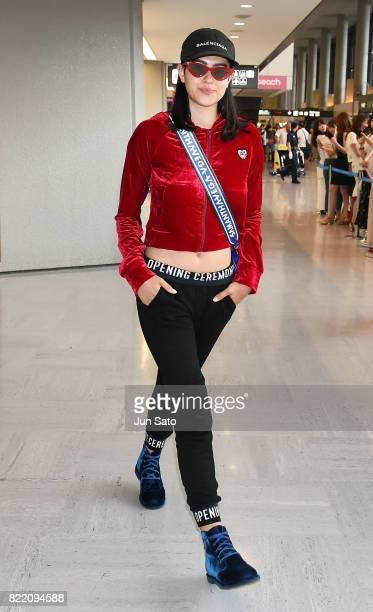 Amelia Gray Hamlin is seen upon arrival at Narita International Airport on July 25 2017 in Narita Japan