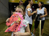 Amelia Hornby lines up with her custom designed stick horse complete with pink feathers for the start of a Guinness World Record attempt for the...