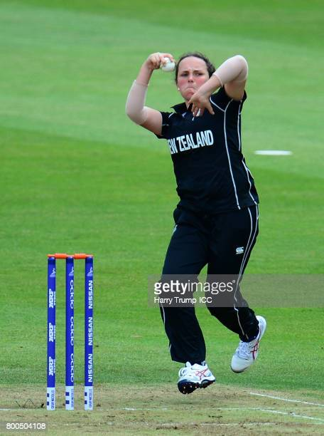 Amelia Kerr of New Zealand bowls during the ICC Women's World Cup 2017 match between New Zealand and Sri Lanka at the Brightside Ground on June 24...