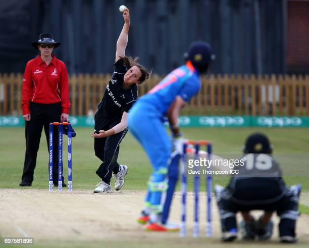 Amelia Kerr of New Zealand bowls to Harmanpreet Kaur of India during the ICC Women's World Cup warm up match between India and New Zealand at The...