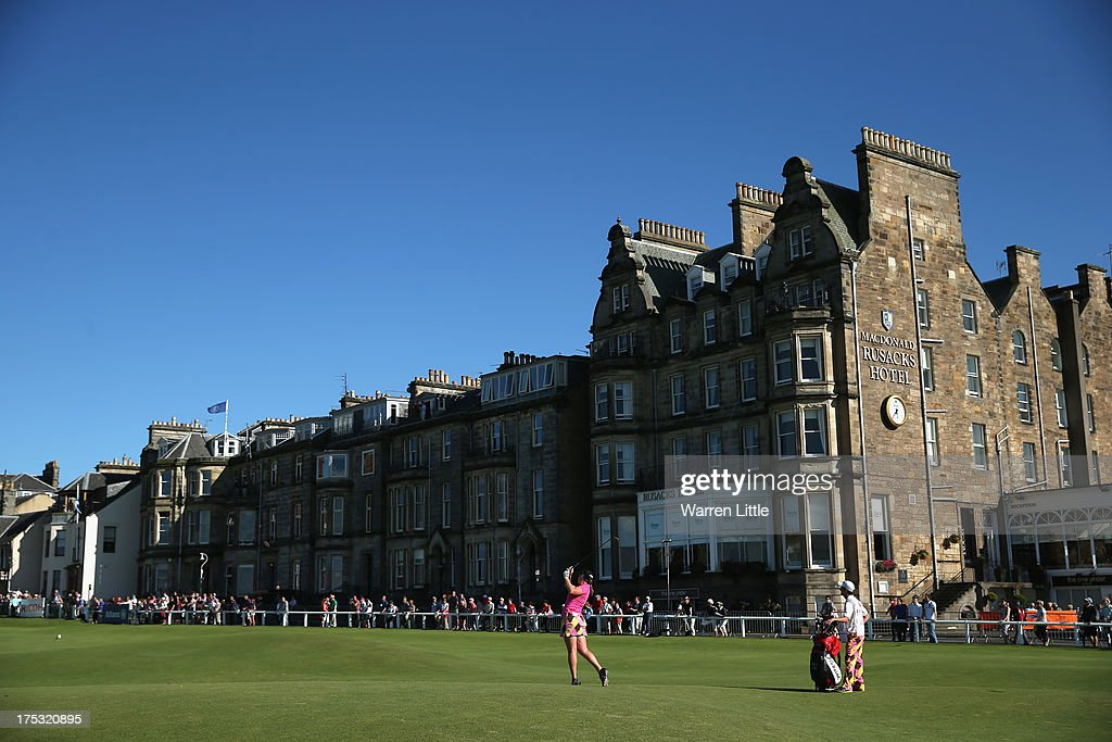 Amelia Lewis of the United States hits her 2nd shot on the 18th hole during the second round of the Ricoh Women's British Open at the Old Course, St Andrews on August 2, 2013 in St Andrews, Scotland.