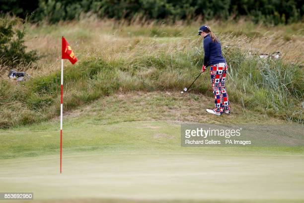 Amelia Lewis of USA in the rough during day four of the Ricoh Women's British Open at Royal Birkdale Southport