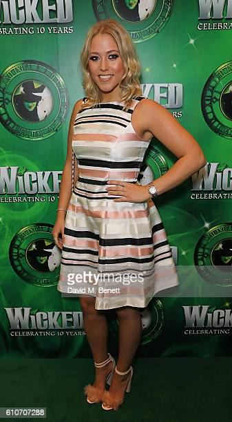 Amelia Lily attends the hit musical Wicked celebrating 10 years at The Apollo Victoria Theatre on September 27 2016 in London England