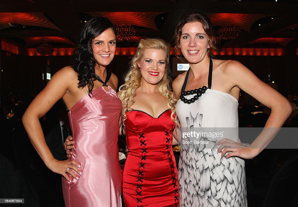 Amelia Todhunter, Frizz Ferguson and Hayley Moffat of the West Coast Waves attend the 2013 Basketball Australia MVP Awards at Crown Palladium on March 24, 2013 in Melbourne, Australia.