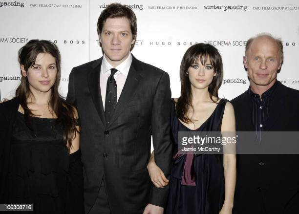 Amelia Warner Adam Rapp Zooey Deschanel and Ed Harris at the Cinema Society/Hugo Boss screening of 'Winter Passing' at the Tribeca Grand