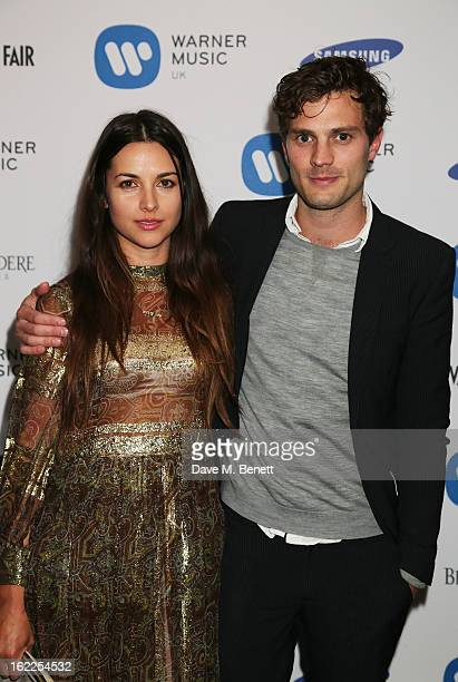 Amelia Warner and Jamie Dornan attend the Warner Music Group Post BRIT Party In Association With Samsung at The Savoy Hotel on February 20 2013 in...