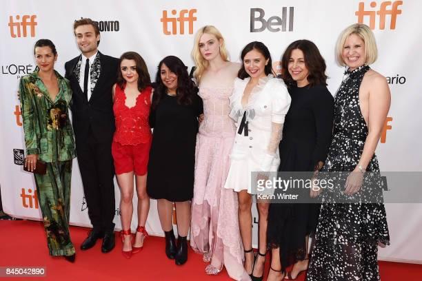 Amelia Warner Douglas Booth Maisie Williams Haifaa AlMansour Elle Fanning Bel Powley Joannie Burstein and Emma Jensen attend the 'Mary Shelley'...