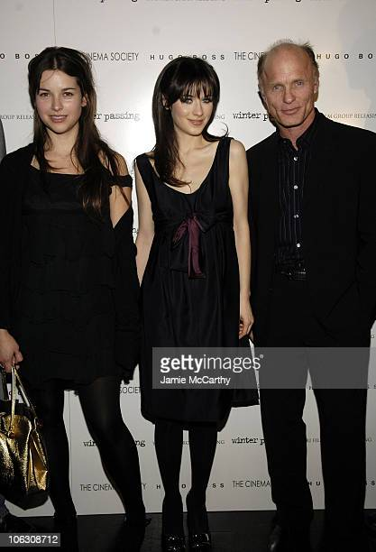 Amelia Warner Zooey Deschanel and Ed Harris at the Cinema Society/Hugo Boss screening of 'Winter Passing' at the Tribeca Grand