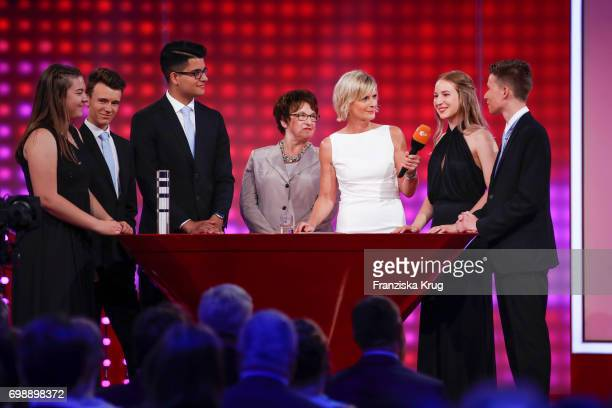 Amelie Ernst Simon Roedel Reshad Quarizida Brigitte Zypries Barbara Hahlweg Denise Conka and Sebastian Kral attend the Deutscher Gruenderpreis on...