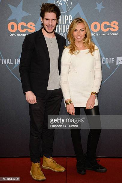Amelie Etasse and Francois Civil arrive at the opening ceremony of the 18th L'Alpe D'Huez International Comedy Film Festival on January 13 2016 in...