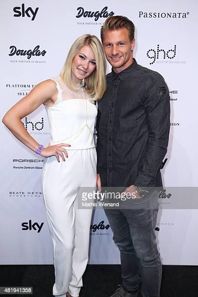 Amelie Klever and Michael Ratajczak arrive for the Platform Fashion Selected show during Platform Fashion July 2015 at Areal Boehler on July 25 2015...